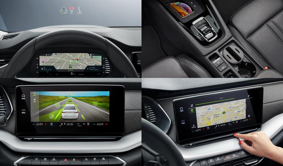 Большая цифровая приборка, на которой имеется 10,25-дюймовой экран, дополнена ещё одним центровым экраном, чья диагональ составляет 8, 25-10 дюймов. Со старшей системы мультимедиа карту можно выводить одновременно на приборку и цифровой дисплей, изменяя масштаб и настраивая данную функцию с помощью сенсорного слайдера под экраном. Он же отвечает и за изменение громкости.